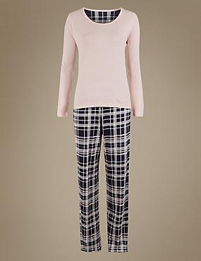 Pure Cotton Printed Cropped Pyjama Set, BLUE MIX, catlanding