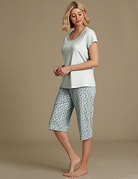 Pure Cotton Printed Short Sleeve Pyjama Set, PALE MINT, catlanding