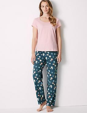 Pure Cotton Star Print Pyjama Set, BLUE MIX, catlanding