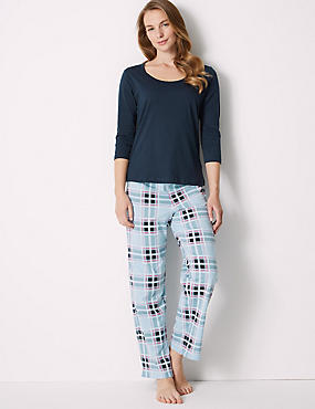 Pure Cotton Checked ¾ Sleeve Pyjama Set, NAVY MIX, catlanding