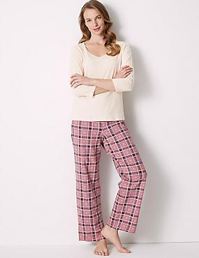 Pure Cotton Check Print ¾ Sleeve Pyjama Set, PINK MIX, catlanding