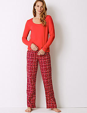 Pure Cotton Checked Long Sleeve Pyjama Set, RED MIX, catlanding