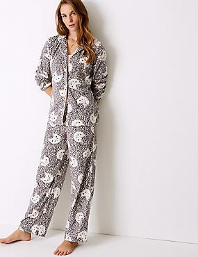 Fleece Cat Print Long Sleeve Pyjama Set , OATMEAL MIX, catlanding
