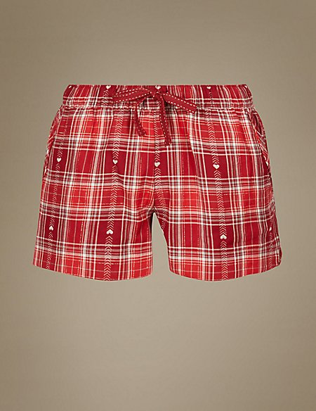 Cotton Rich Checked Pyjama Shorts