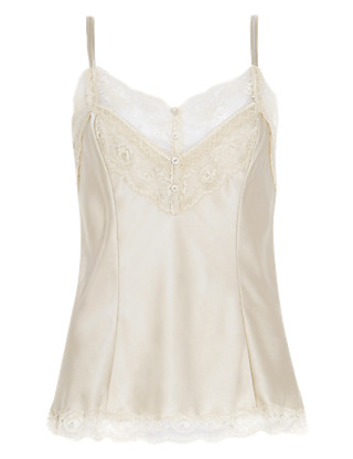 Pure Silk Camisole with French Designed Rose Lace Clothing
