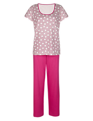 Pure Cotton Striped & Spotted Pyjamas Clothing