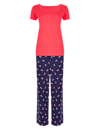 Pure Cotton Cherry Print Pyjamas Clothing
