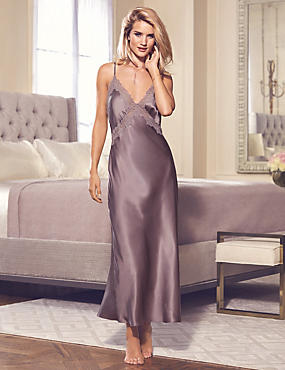 Pure Silk Lace Long Nightdress