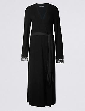 Lace Trim Long Wrap Dressing Gown
