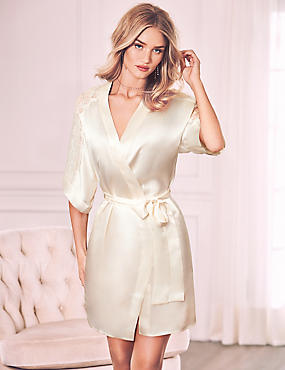 Pure Silk Lace Trim Short Dressing Gown
