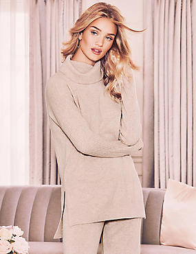 Pure Cashmere Roll Neck Pyjama Top