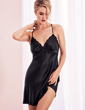 Pure Silk Lace Embroidered Chemise  , BLACK, catlanding