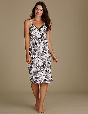 Satin Printed Strappy Chemise