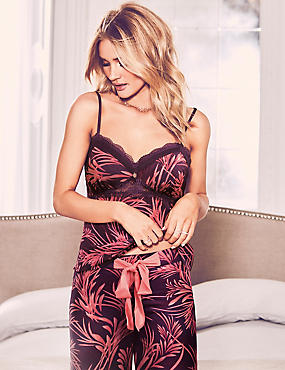 Satin Printed Strappy Camisole Top