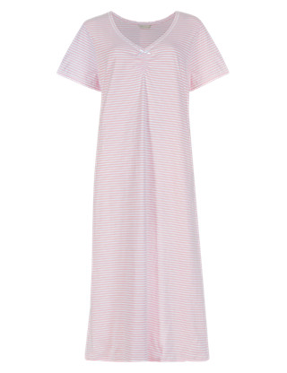 Pure Cotton Striped Long Nightdress with Cool Comfort™ Technology Clothing