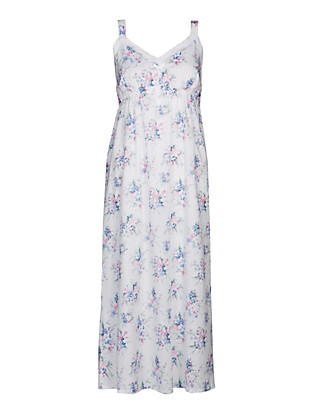 Pure Cotton Floral Long Nightdress with Cool Comfort™ Technology Clothing