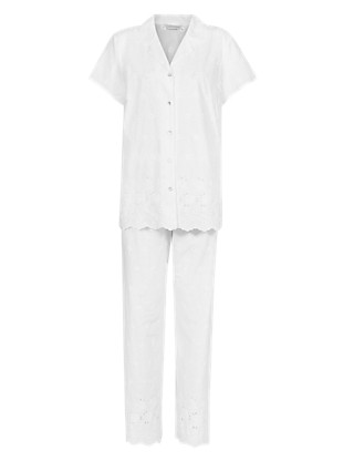 Pure Cotton Floral Embroidered Pyjamas with Cool Comfort™ Technology Clothing