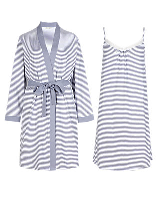 Pure Cotton Striped Chemise & Wrap Set with Cool Comfort™ Technology Clothing