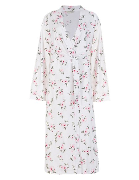 Pure Cotton Floral Wrap Dressing Gown with Cool Comfort™ Technology