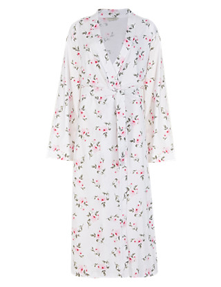 Pure Cotton Floral Wrap Dressing Gown with Cool Comfort™ Technology Clothing