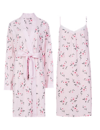 Pure Cotton Floral Chemise & Wrap Set with Cool Comfort™ Technology Clothing