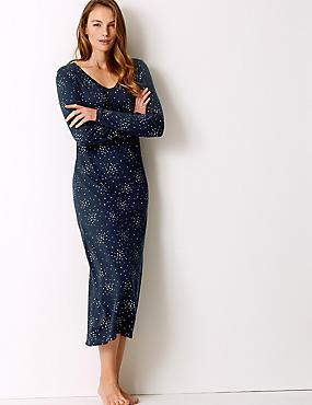 Modal Blend Star Print Long Nightdress , NAVY MIX, catlanding