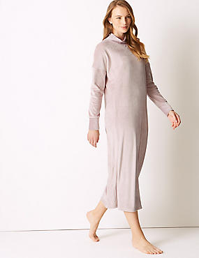 Island Fleece Lounge Dress, PINK, catlanding