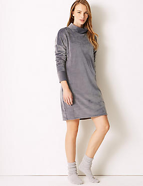 Fleece Lounge Nightdress, DARK GREY, catlanding