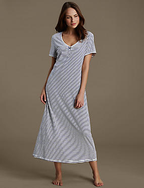 Cotton Rich Striped Nightdress with Modal & Cool Comfort™ Technology