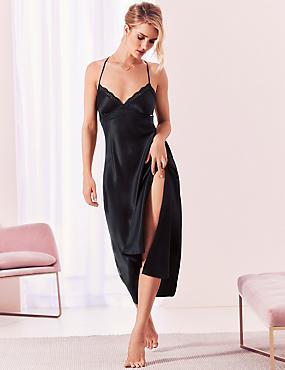 Pure Silk Embroidered Long Nightdress, BLACK, catlanding