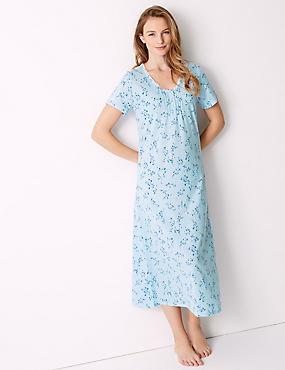 Ditsy Floral Print Long Nightdress, BLUE MIX, catlanding