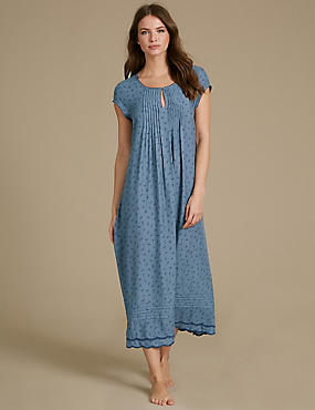 Leaf Print Short Sleeve Nightdress