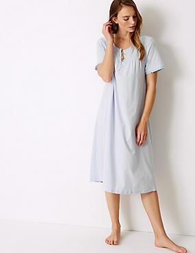Pure Cotton Embroidered Nightdress, LIGHT BLUE, catlanding