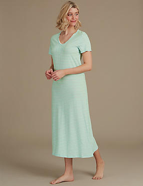 Modal Blend Striped Nightdress, MINT MIX, catlanding