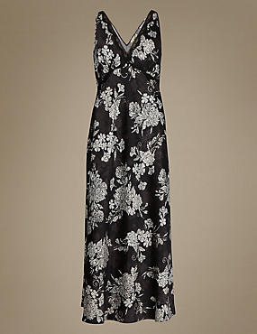 Floral Satin Long Nightdress