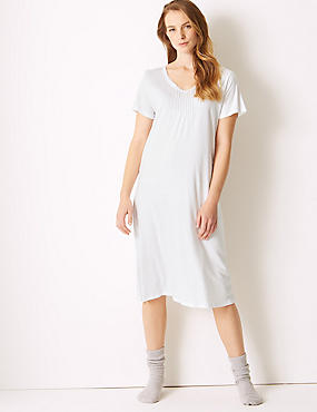 Modal Blend Tile Print Long Nightdress, WHITE MIX, catlanding