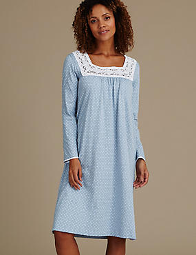 Long Sleeve Spot Crochet Nightdress
