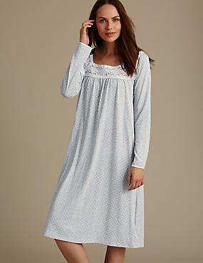 Long Sleeve Spotted Crochet Trim Nightdress