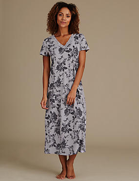 Pure Cotton Floral Print Long Nightdress