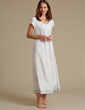 Shadow Print Long Nightdress