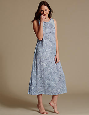 Pure Modal Floral Print Long Nightdress