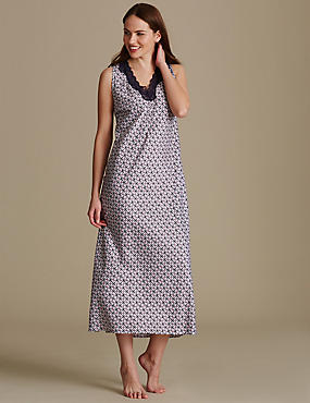 Satin Geometric Print Long Nightdress