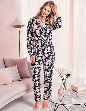 Satin Floral Print Long Sleeve Pyjamas, NAVY MIX, catlanding