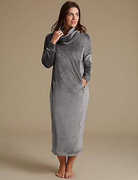 Cowl Neck Long Sleeve Nightdress