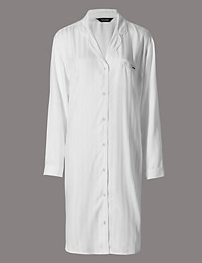 Pure Modal Stripe Button Through Nightshirt