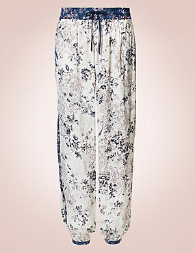 Satin Floral Harem Pyjama Bottoms