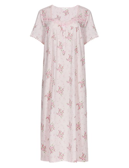 Floral Ribbon Slot Nightdress
