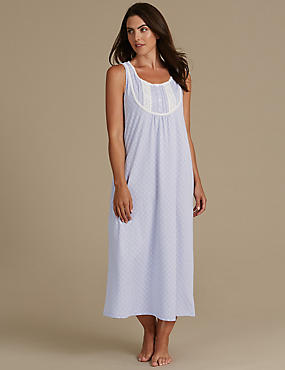 Cotton Rich Geometric Print Built-Up Shoulder Nightdress