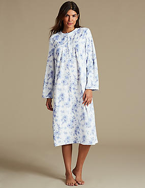 Fleece Floral Print Long Sleeve Nightdress