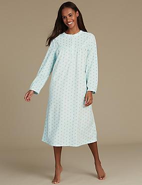 Spotted Fleece Nightdress, AQUA MIX, catlanding